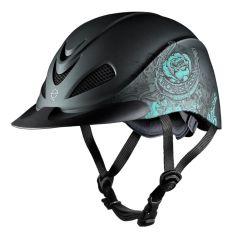 Troxel Rose Rebel Western Helmet - Black/Turquoise